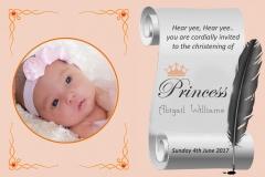 Princess Theme Christening Invitation