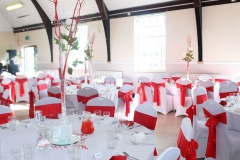 Red and white theme table arrangements